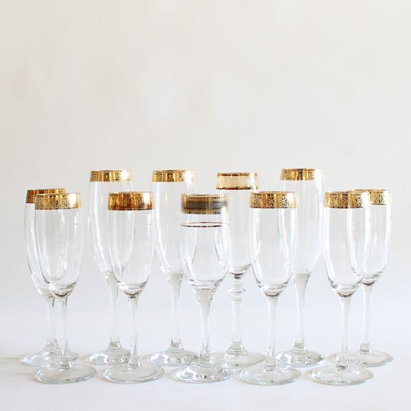 Gold-Rimmed Champagne Flutes