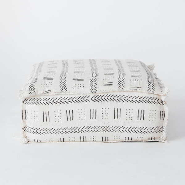 White Mudcloth Floor Cushions