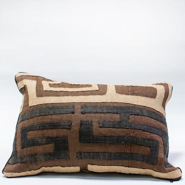 Pillow // Kuba Cloth - Brown/Tan