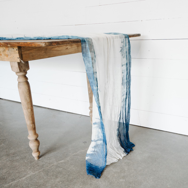 Custom Dip-Dyed Cheesecloth Runner - lengthwise