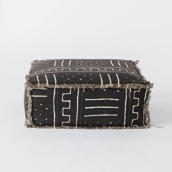 Black Mudcloth Floor Cushion