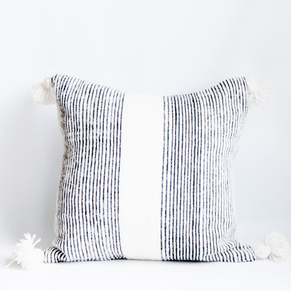 Pillow // Striped Moroccan Pom
