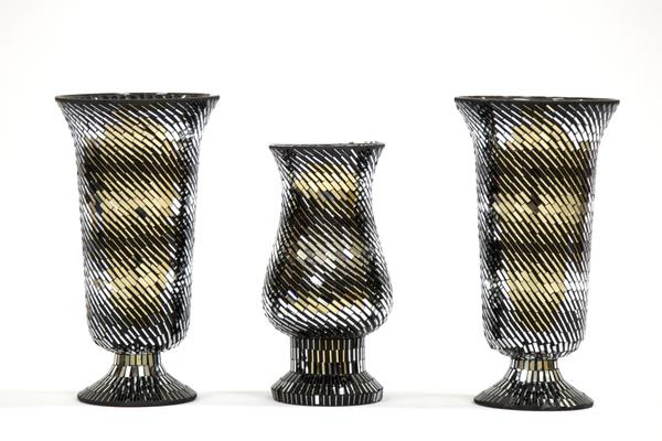 Black Reflective Vases (Set of 3)