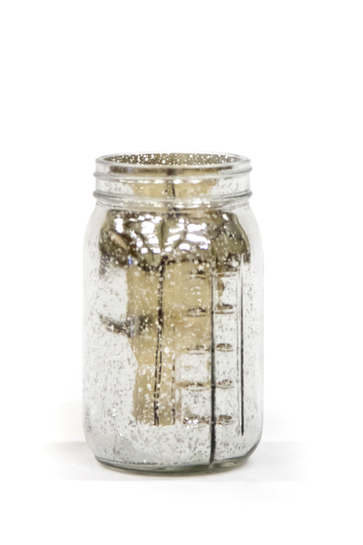 Mason Jar - Silver Mercury Glass