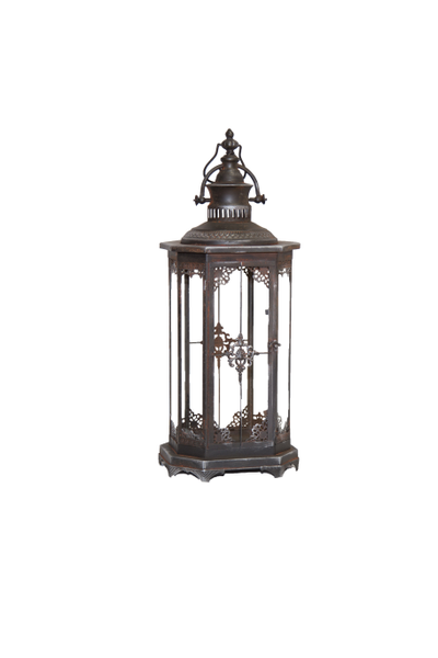 Charcoal Rustic Metal Lantern (Large)