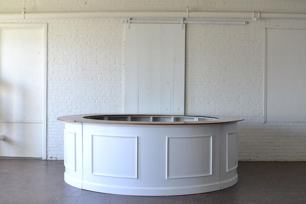white round full bar wooden top