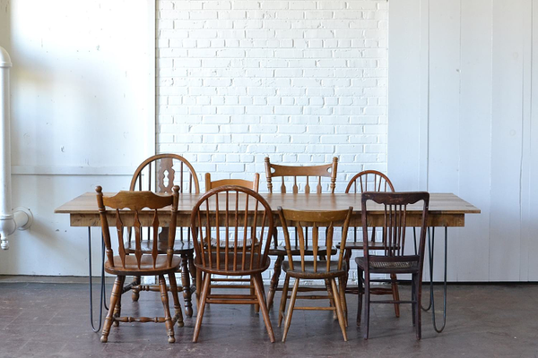 Hairpin Table & Mismatched Wooden Chairs