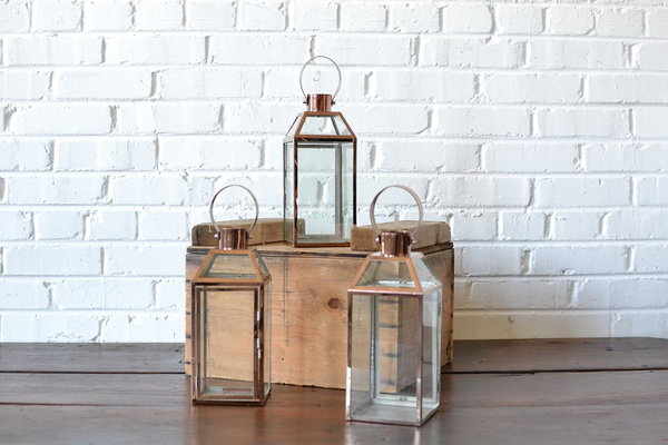 Copper & Glass Lantern - Small