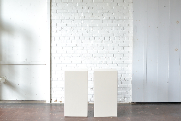 Wheat color painted wooden pedestals