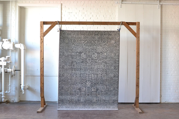 gray muted floral area rug