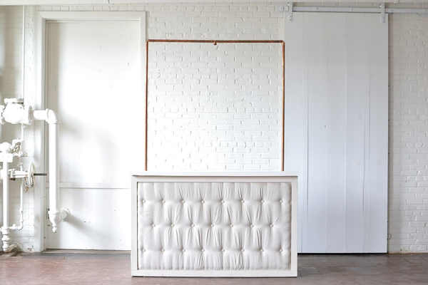 Tufted Bar with White Top & Copper Truss