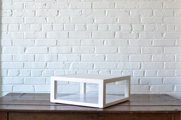 white Shadowbox Cake Stand