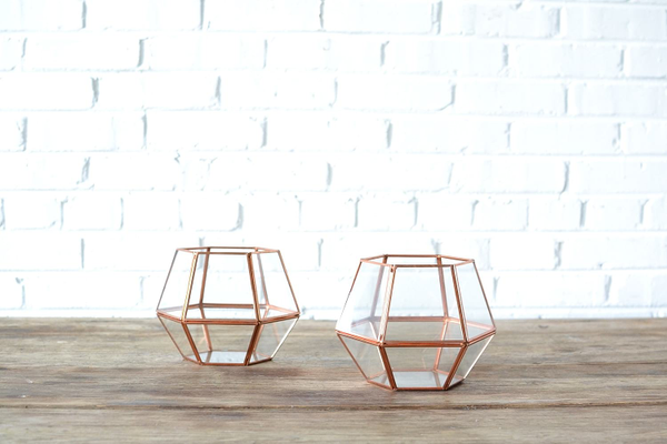 Geometric Copper Lantern - Short