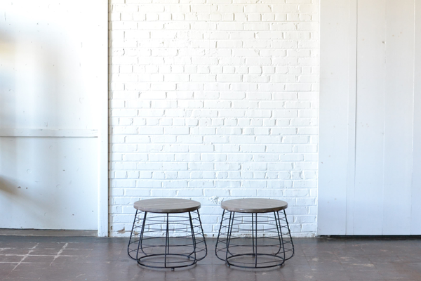 Pair of Round Industrial End Tables