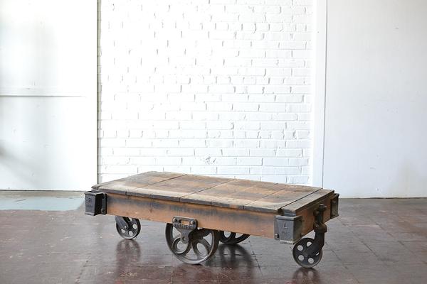 wooden metal Industrial Cart