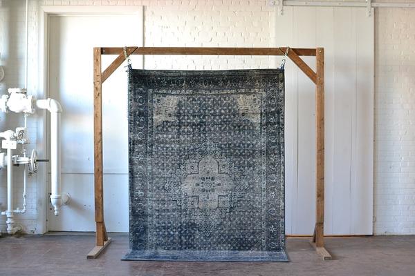 blue gray vintage modern rug