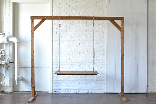 Small Hanging Farm Table (Copper Cable) with 8' Wooden Truss