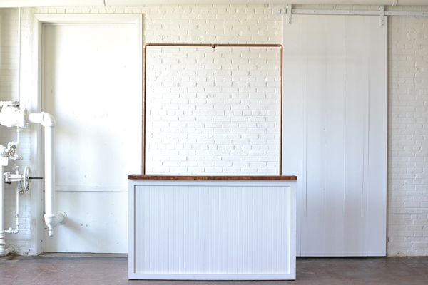 White Beadboard Bar with Copper Truss