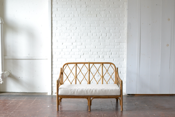 bamboo wooden seating settee neutral upholostery boho