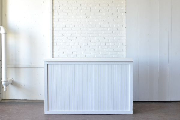 Homestead White Beadboard Bar with White Top