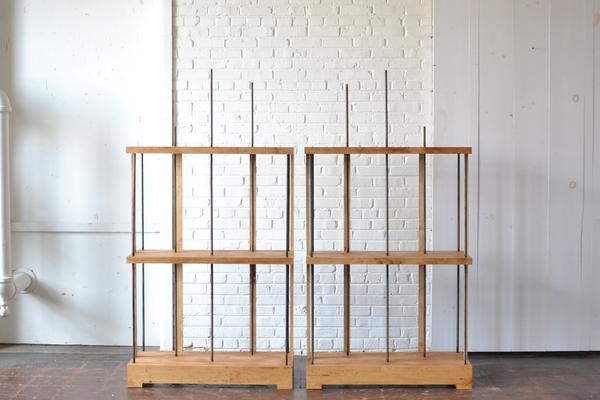 pair modern wooden shelving on white backround