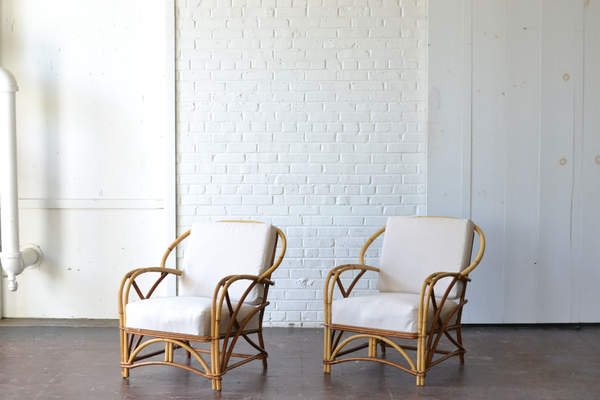 bamboo wooden armchairs neutral upholostery boho