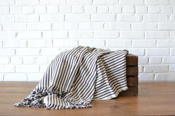 Gray Striped Throw blanket