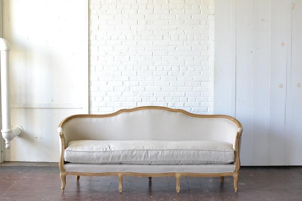 Neutral tan linen Curved Back Sofa