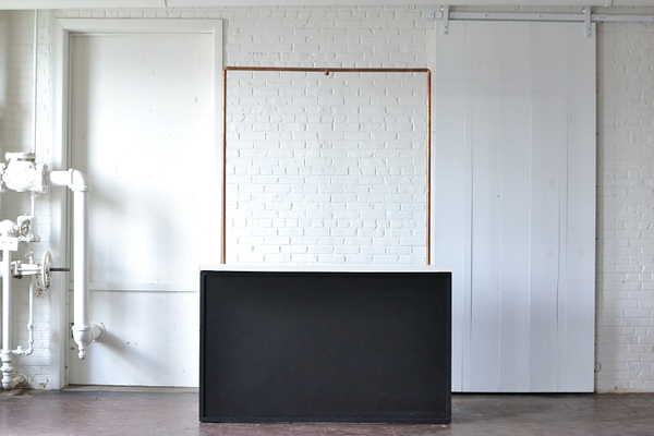 Chalkboard Bar with White Top & Copper Truss