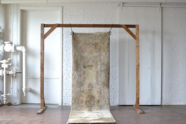 neutral gray vintage runner rug