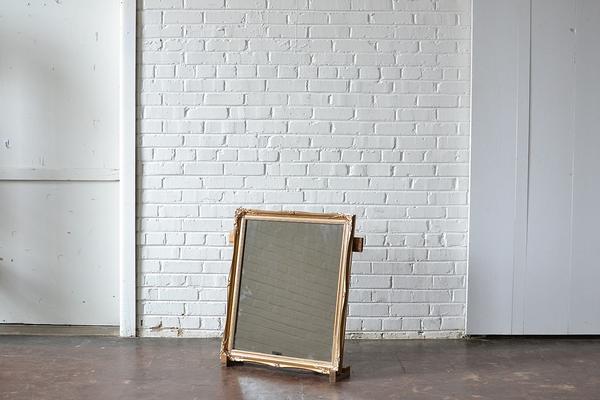 gold frame mirror vintage square