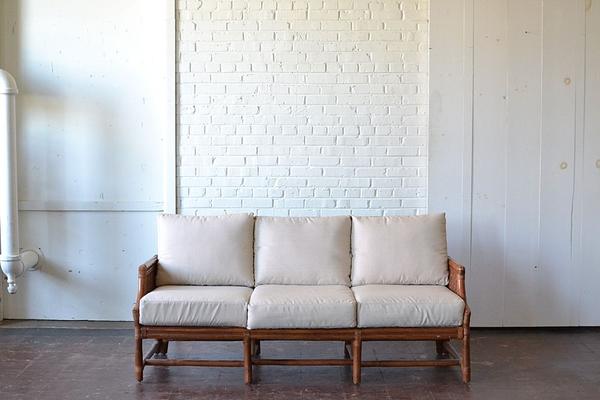 bamboo wooden sofa neutral upholostery boho