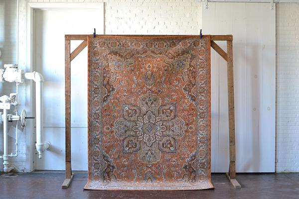 ornate red orange traditional rug