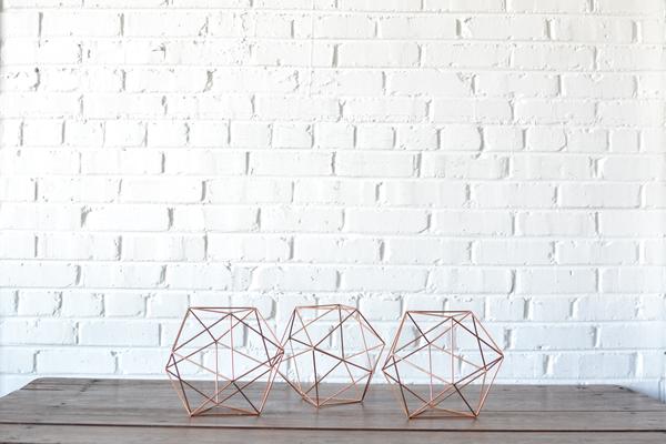 Trio of Geometric Copper Shapes - Small