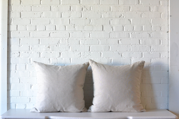 Pair of Oversize Linen tan neutral Square PIllows