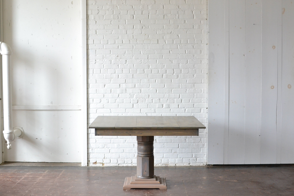 Honey gray washed square wooden table