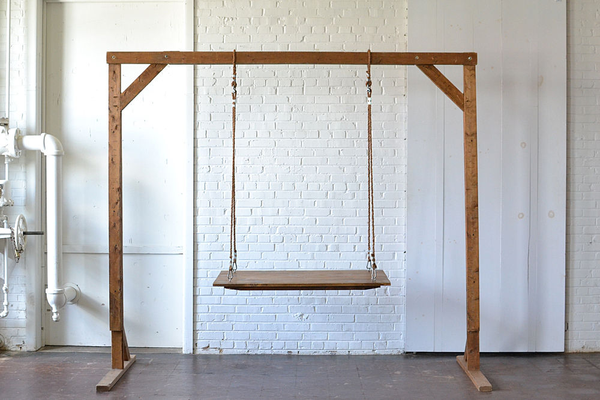 Small Hanging Farm Table (Rope) with 8' Wooden Truss