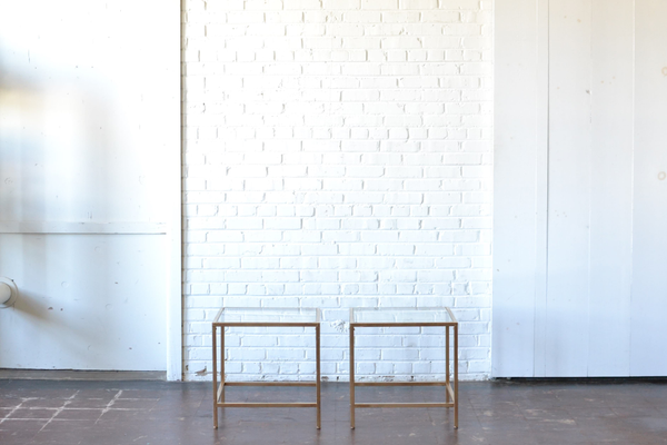 Gold & Glass End Tables (Pair)