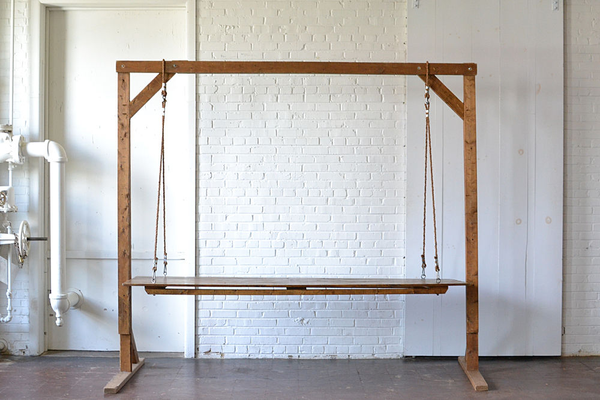 Hanging Farm Table (Rope Rigging) with 8' Wooden Truss