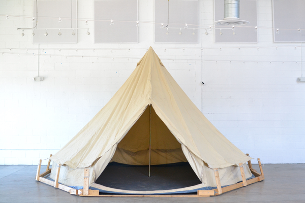 Canvas tent with wooden platform
