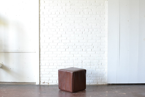 Square Leather Pouf