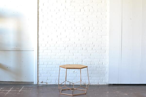 Geometric Gold & Wood Coffee Table
