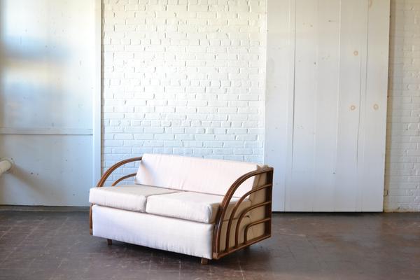 bamboo loveseat neutral upholstery