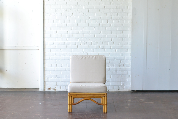 bamboo wooden seating chair neutral upholostery boho