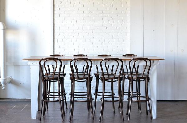 Heritage Farm Table (Bar Height) & Bentwood Barstools