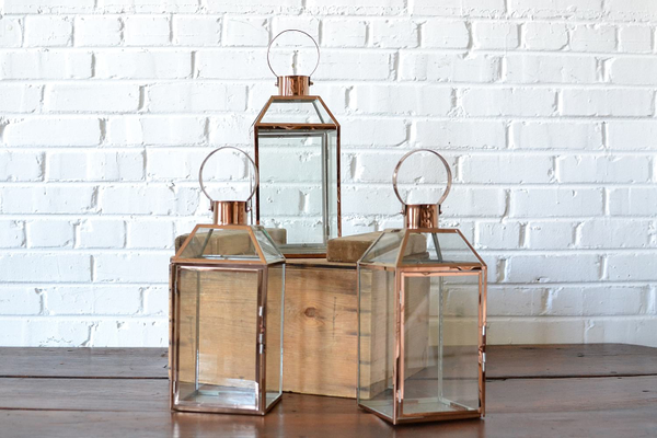 Copper & Glass Lantern - Large