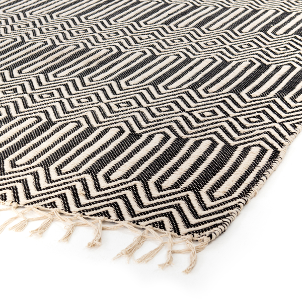 Black Woven Linear Pattern Rug for event rental decor