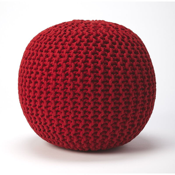 woven and bright red pouf