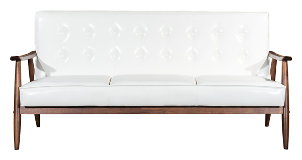 white faux leather sofa with oak finish
