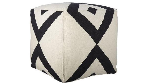 white square pouf with dramactic black lines